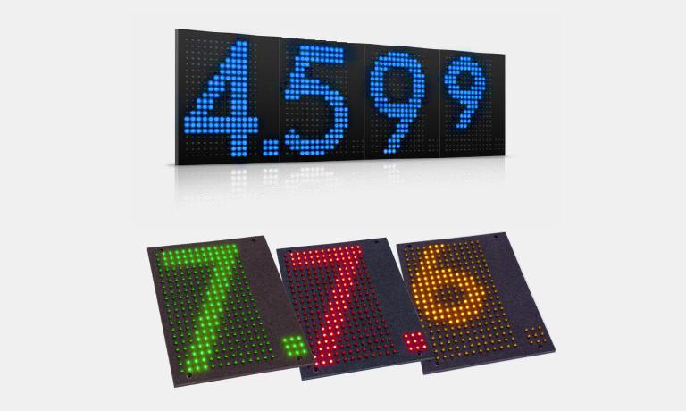 Programozható LED reklámtábla, valuta árfolyam kijelző tábla (65x94x5 cm)
