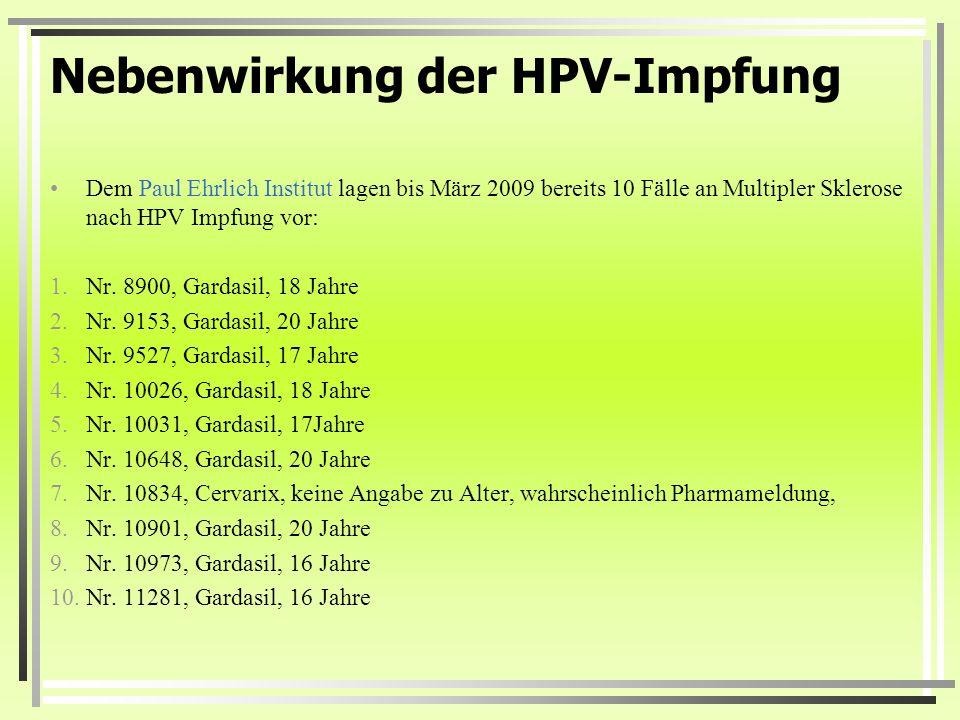 hpv impfung gardasil 9 nebenwirkungen)