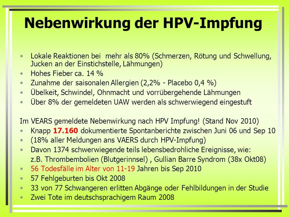 hpv impfung gardasil 9 nebenwirkungen