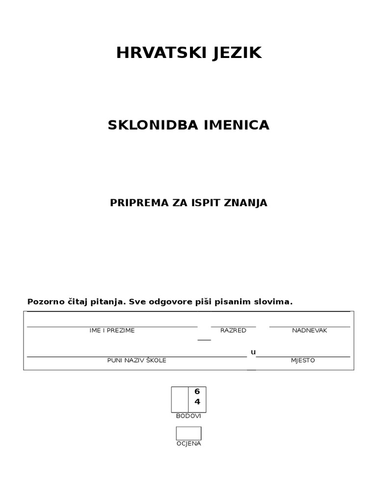 srpski jezik kontroll 5 razred padezi számára