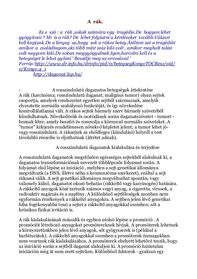 szarkóma rákra vonatkozó információk)